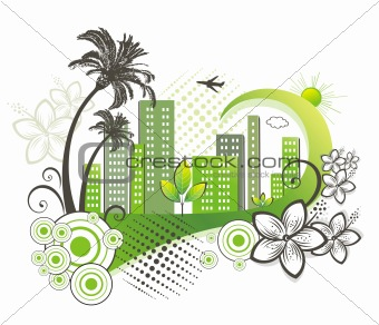 Green city with palm.