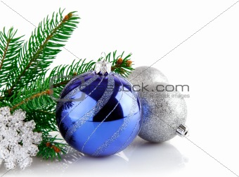 christmas blue ball with branch firtree