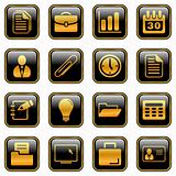 Office and business icons - golden series