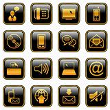 Communication icon set - golden series