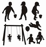 Set of children silhouettes.