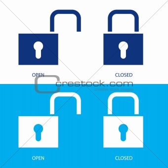 Padlocks in open and closed positions