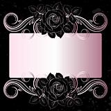 Vector black and pale pink flowers decoration with place for tex