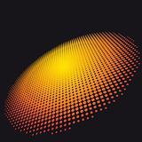 Orange Circle of halftone on a dark background.