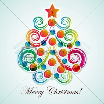Abstract christmas tree on light background. Vector eps 10 illus
