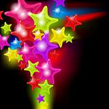 Splash of abstract glossy stars - vector background