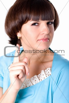 attractive brunet woman in blue dress