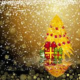 Fairy golden christmas tree with gifts on a dark snow background