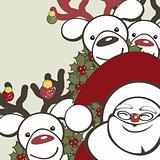 Christmas background with funny reindeer and Santa Claus.