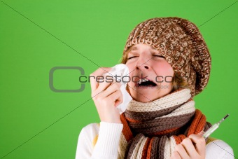 cold girl sneezes