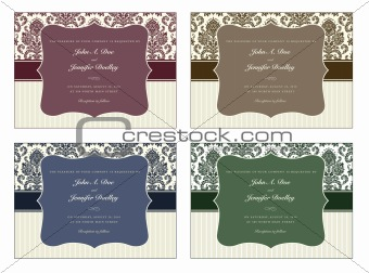 Vector Damask Frame Set with Sample Text