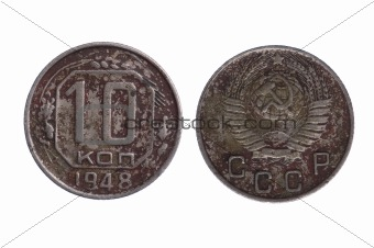 Older Coin from Russia isolated macro