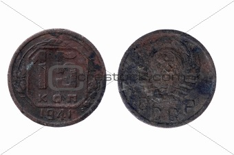 Older Coin from Russia on white background