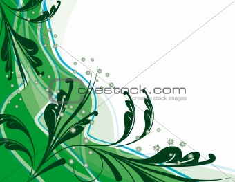 Abstract green background with plants
