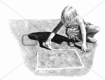 Freehand Drawing of Girl Playing Hopscotch