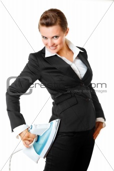 smart  modern business woman ironing her business suit right on herself