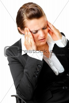 modern business  female with headache holding hands at head