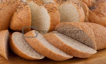 Bread slices on board closeup.