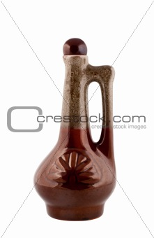 Ceramic bottle with handle. Clipping path.