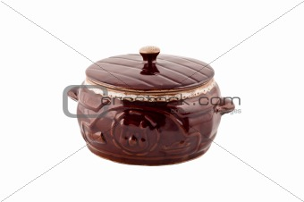 Clay pan on white background,
