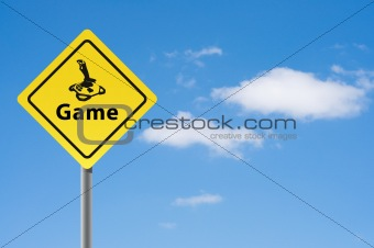 Sign game joystick sky background.