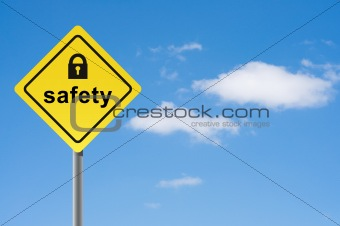 Sign safety padlock sky background.