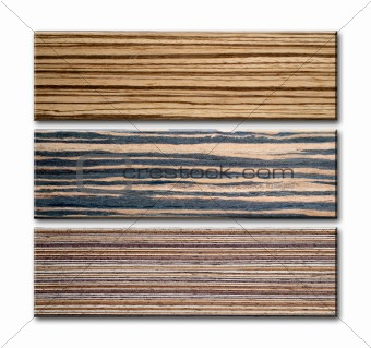 Three sample style and pattern of wood