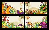 Vector set of decorative autumnal cards. Design elements