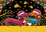 Christmas dachshund. Greeting card