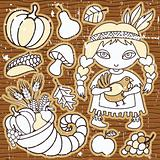 Cartoon Thanksgiving set of design elements.