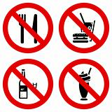 No eating and drinking signs