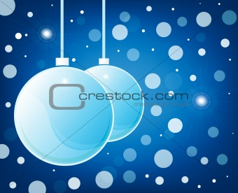 blue christmas glossy balls on blue background