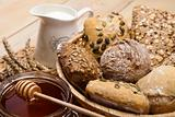 Still-life assortment of baked bread