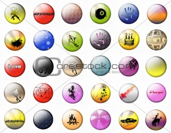 Bright buttons on a white background