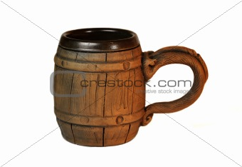 old polish wooden mug for beer
