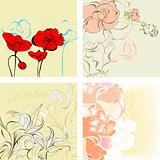 Set of romantic seamless background