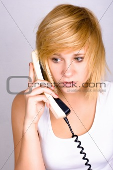 woman with retro telephone