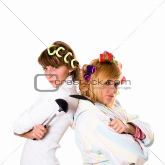 housewifes with  kitchen utensil