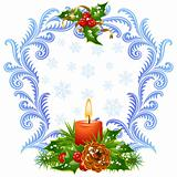 Christmas and New Year greeting card 3. Red candle and holly