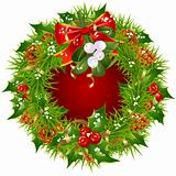 Christmas garland vector frame isolated on white background