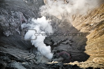 Smoking creater volcano