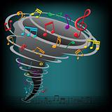 Music notes tornado on the dark background