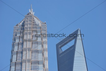 Top of Shanghai World Financial Center and Jin Mao Tower