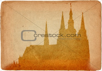 Prague castle and Cathedral of St Vitus in grunge style