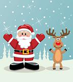 santa and rudolph deer