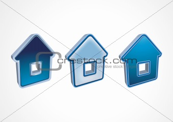 Three dark blue icons houses