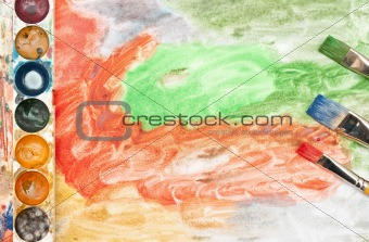 Abstract background with artists brushes
