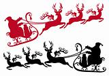 santa with sleigh and reindeer, vector
