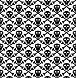 Vector seamless texture, skull in black
