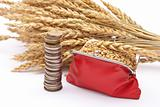 Red purse with wheat ears